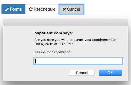 Canceling an Appointment through onpatient – drchrono