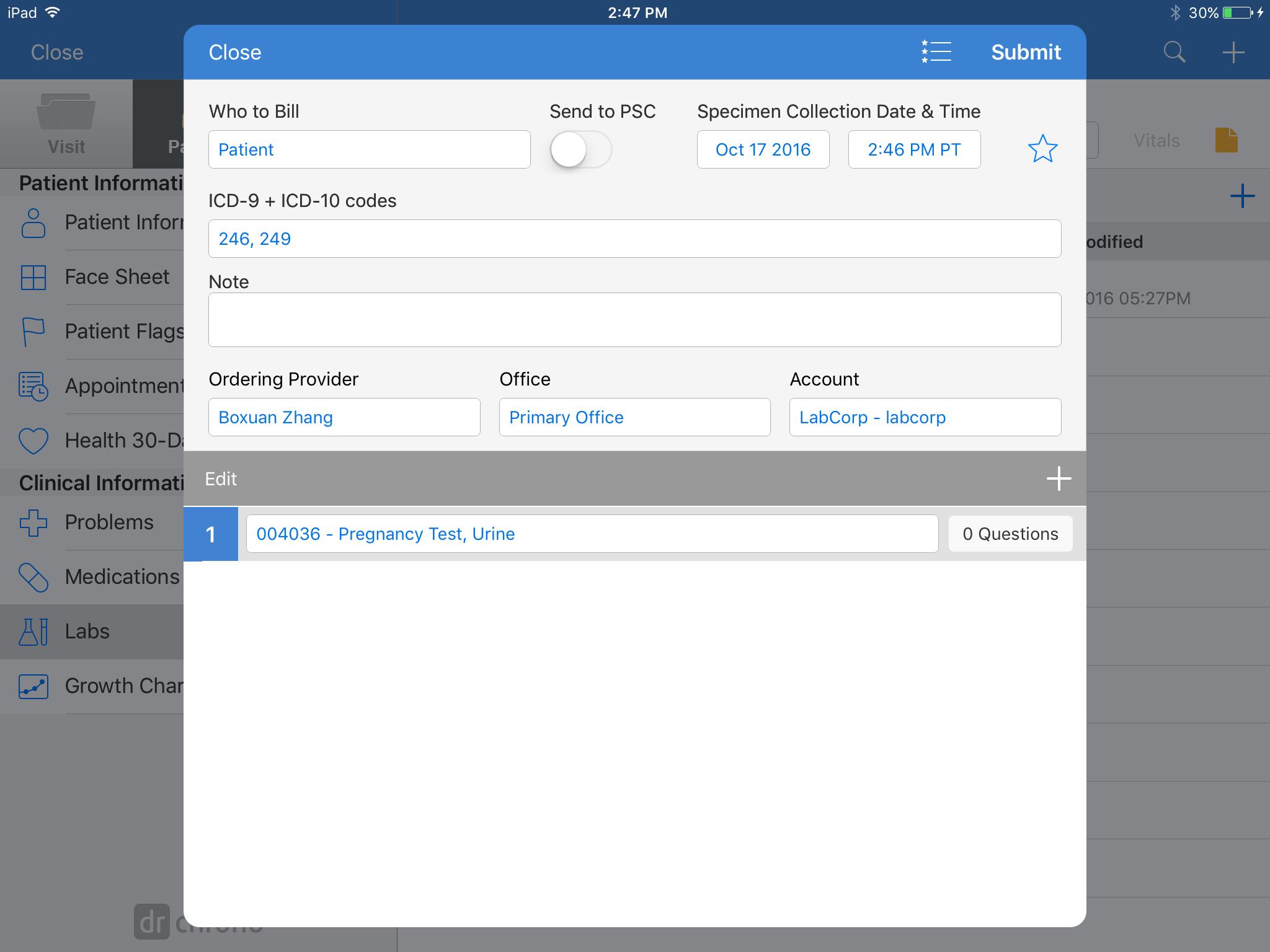 Mobile EHR App: How do I order a lab on my iPad? – drchrono