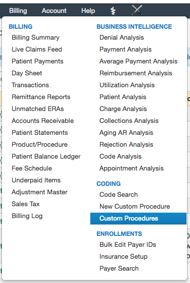 how do i track the price changes of my custom procedures inventory