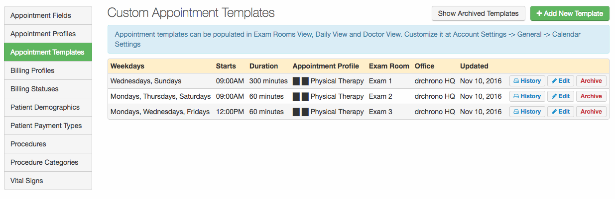Appointment Profiles Associating Offices Exam Rooms Dates And